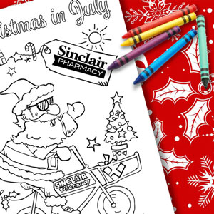 Christmas in July Colouring Page